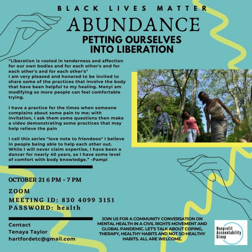 "Tonight! ""Petting ourselves into AbunDANCE"" at Nonprofit Accountability Group"